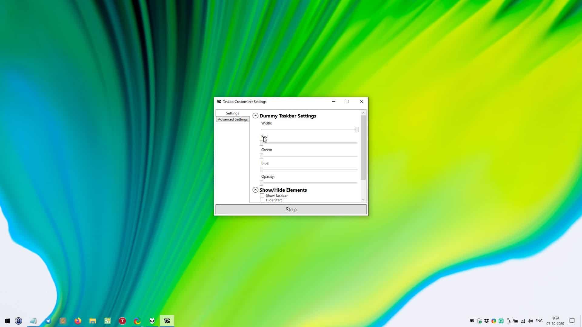 TaskbarCustomizer settings width