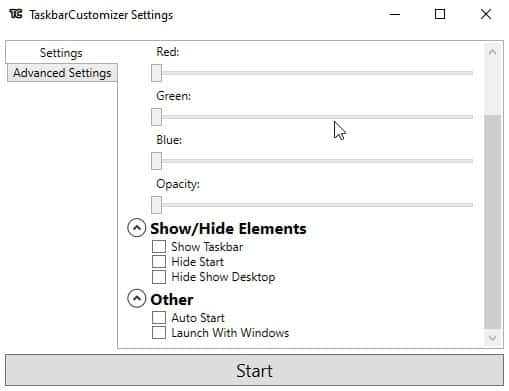 TaskbarCustomizer settings
