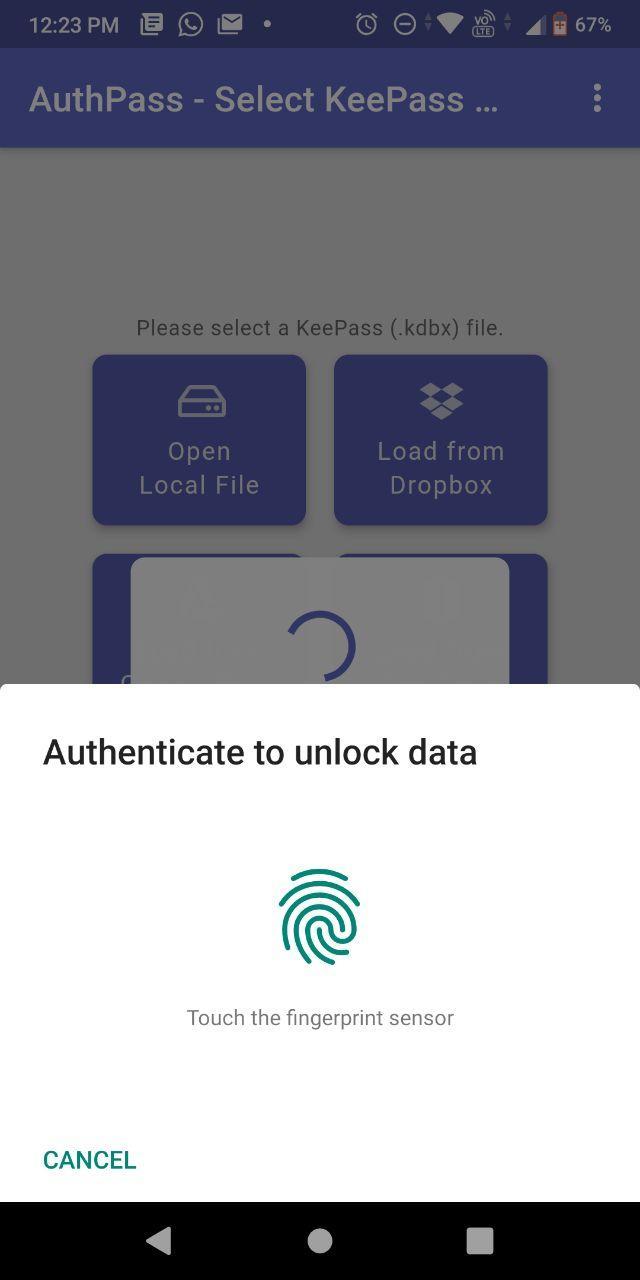 authpass биометрическая аутентификация Android