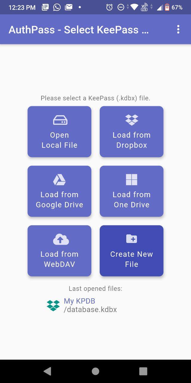 authpass загрузка базы данных Android