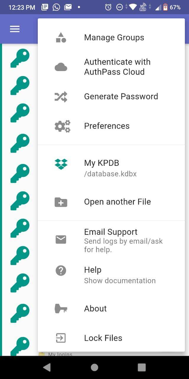 authpass меню Android