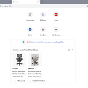 chrome shopping new tab page