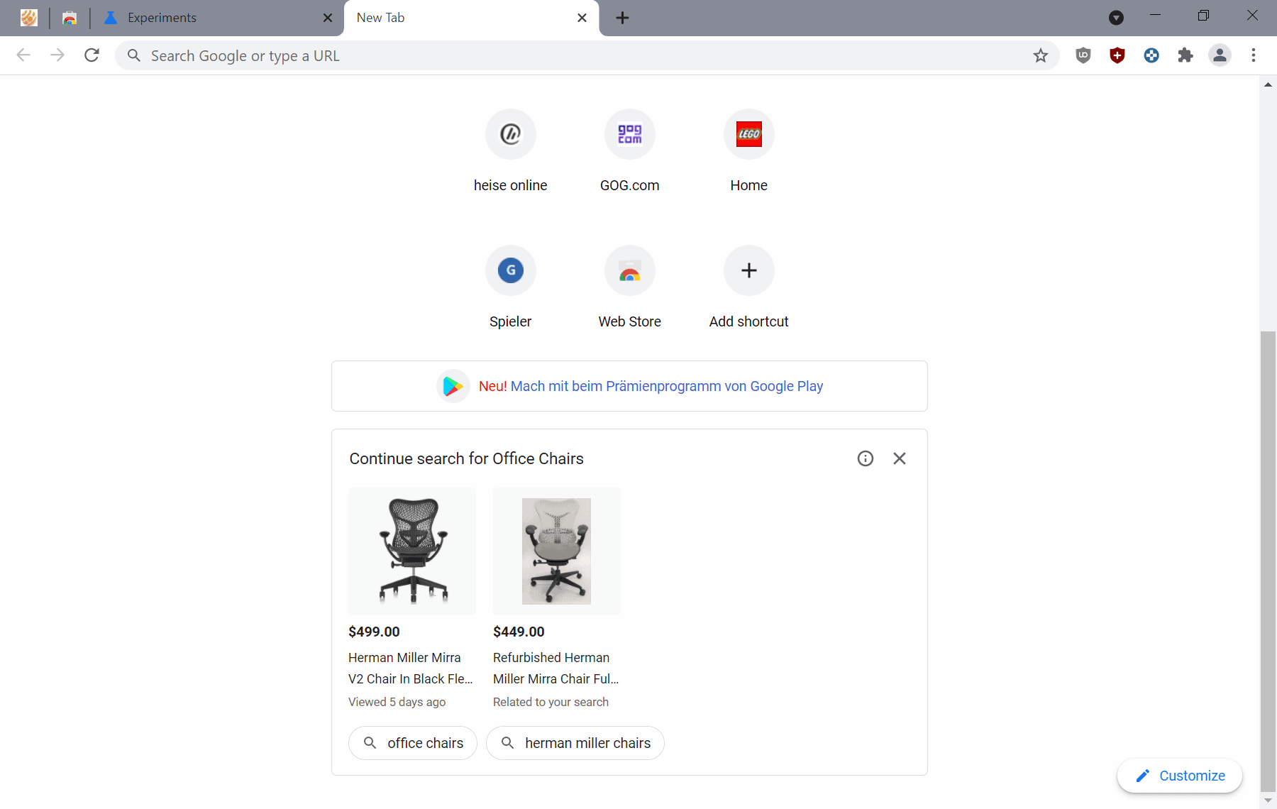 Is Google Chrome getting shopping suggestions on its New Tab Page?