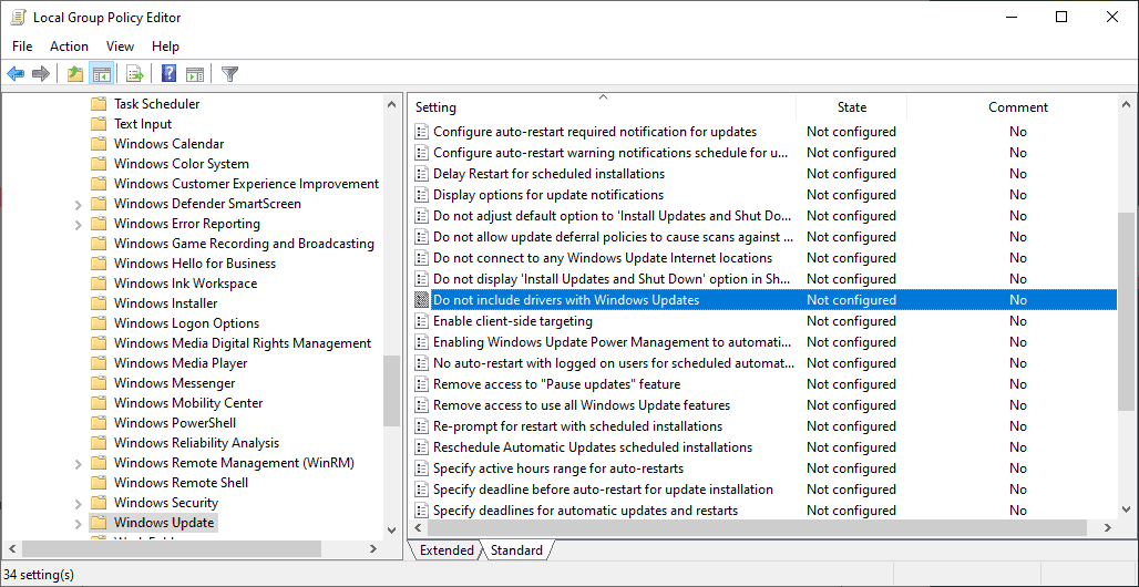 disable driver-installations windows updates
