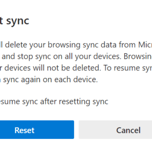 edge reset sync confirmation