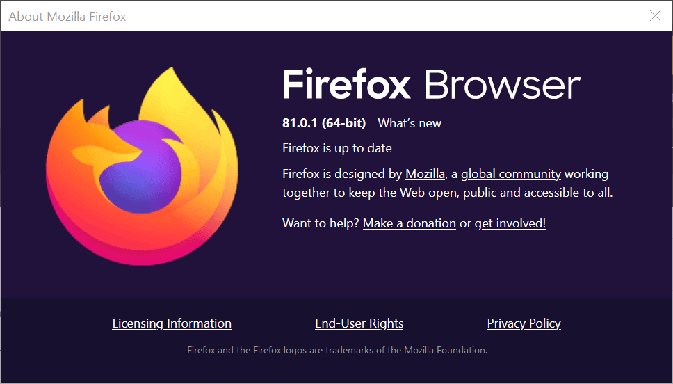 Firefox 81.0.1 and Firefox 78.3.1 ESR are now available