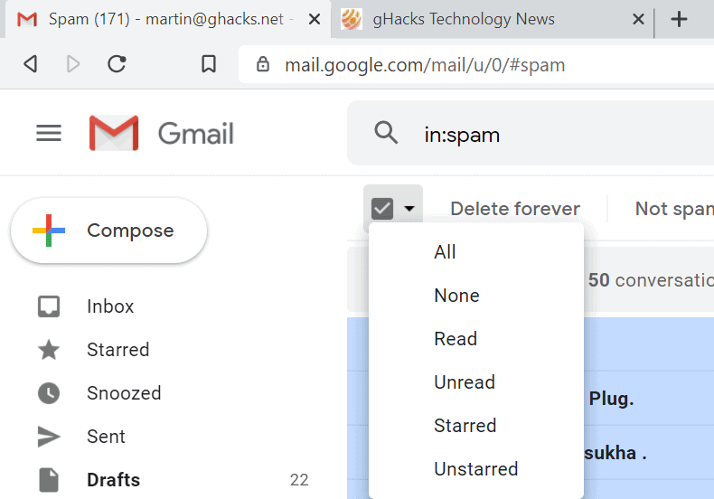 gmail select all emails