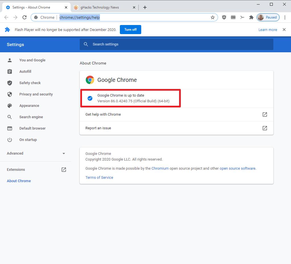 google chrome 86 update