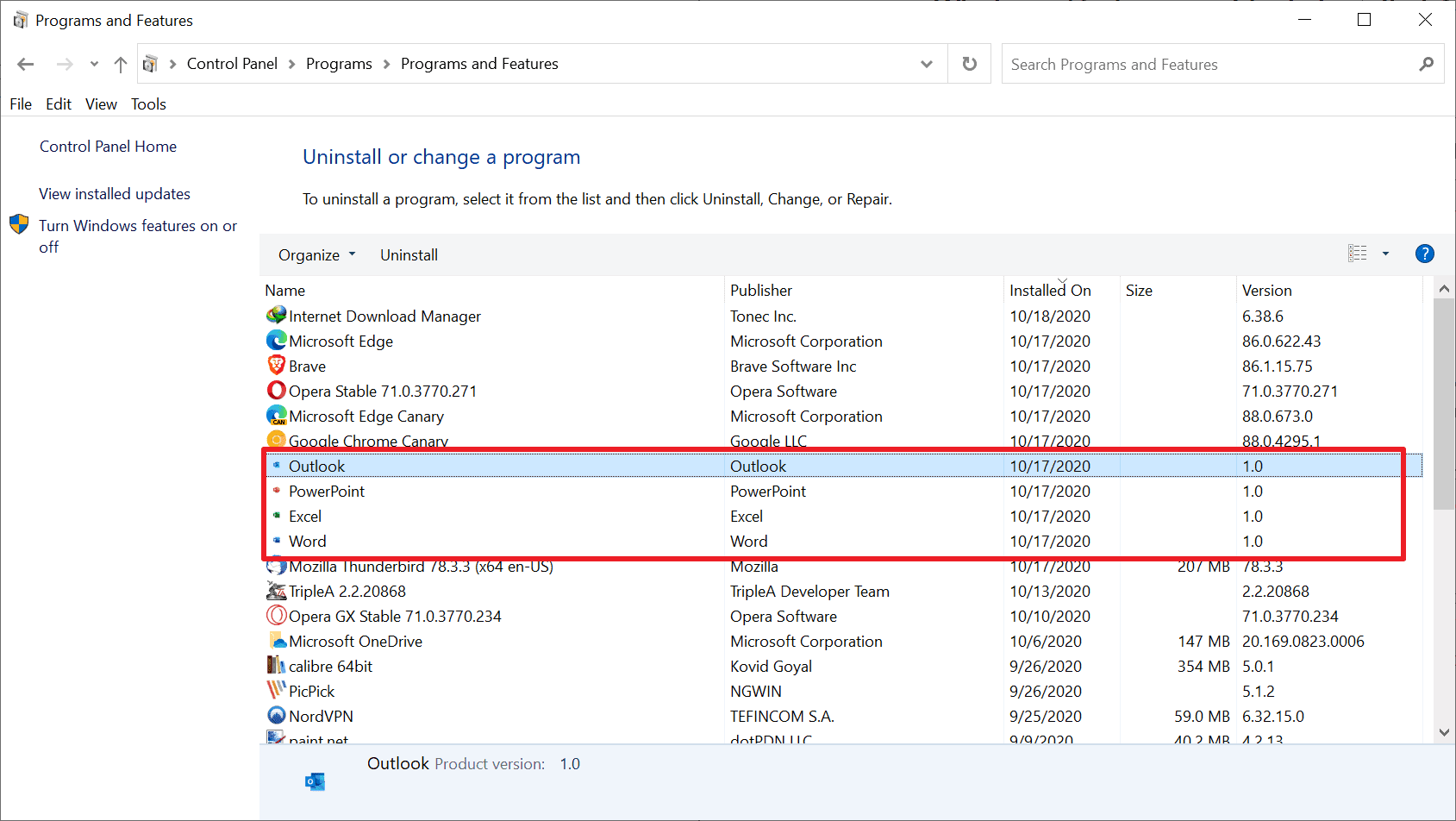 office links installed windows 10