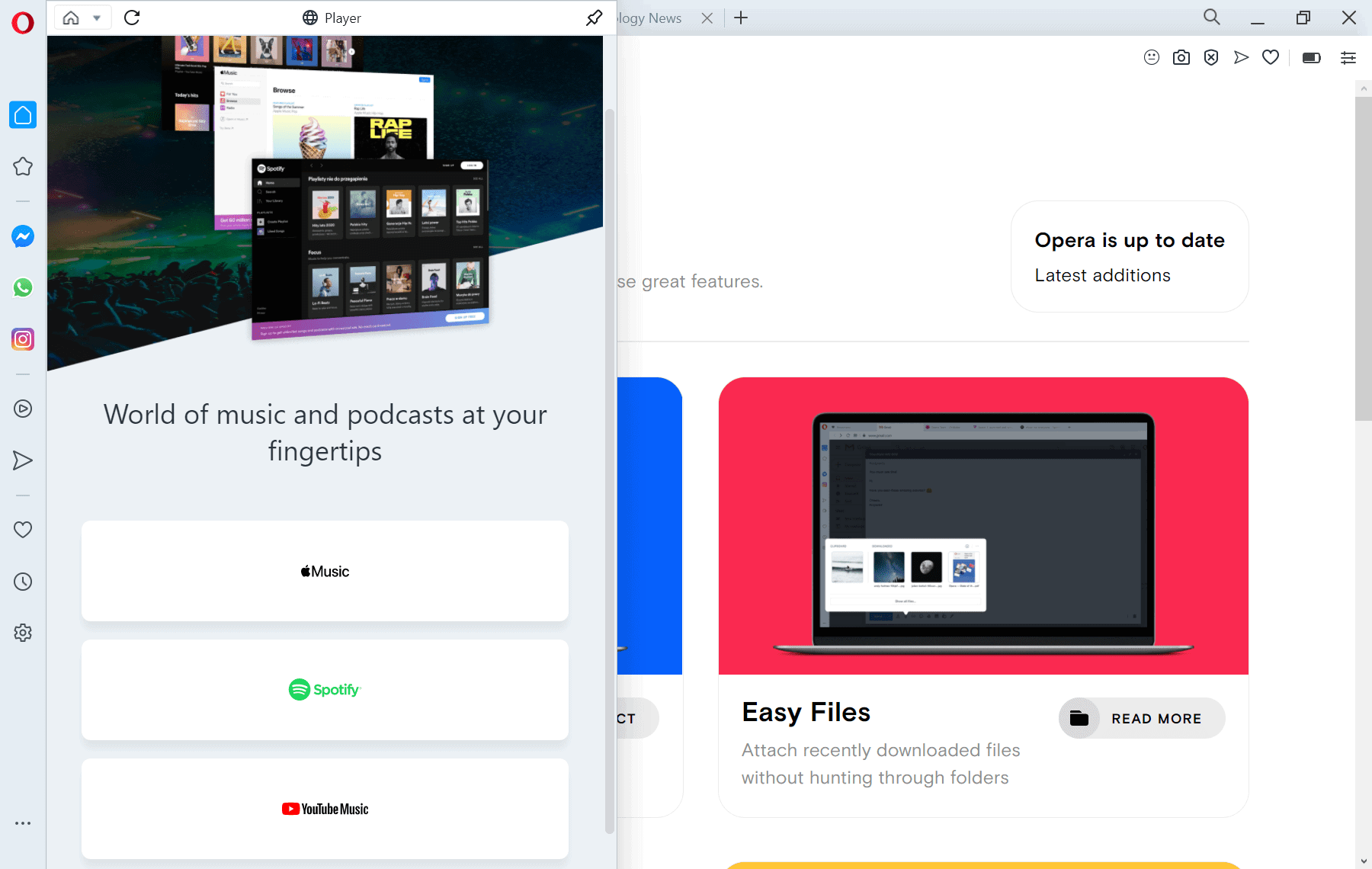 opera-music player sidebar browser