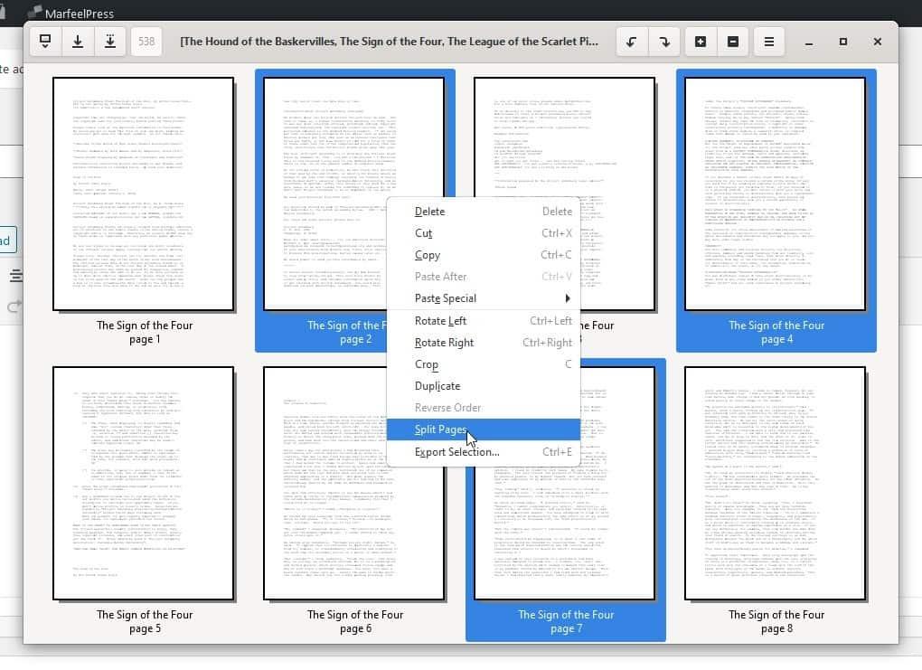 pdfarranger split pages