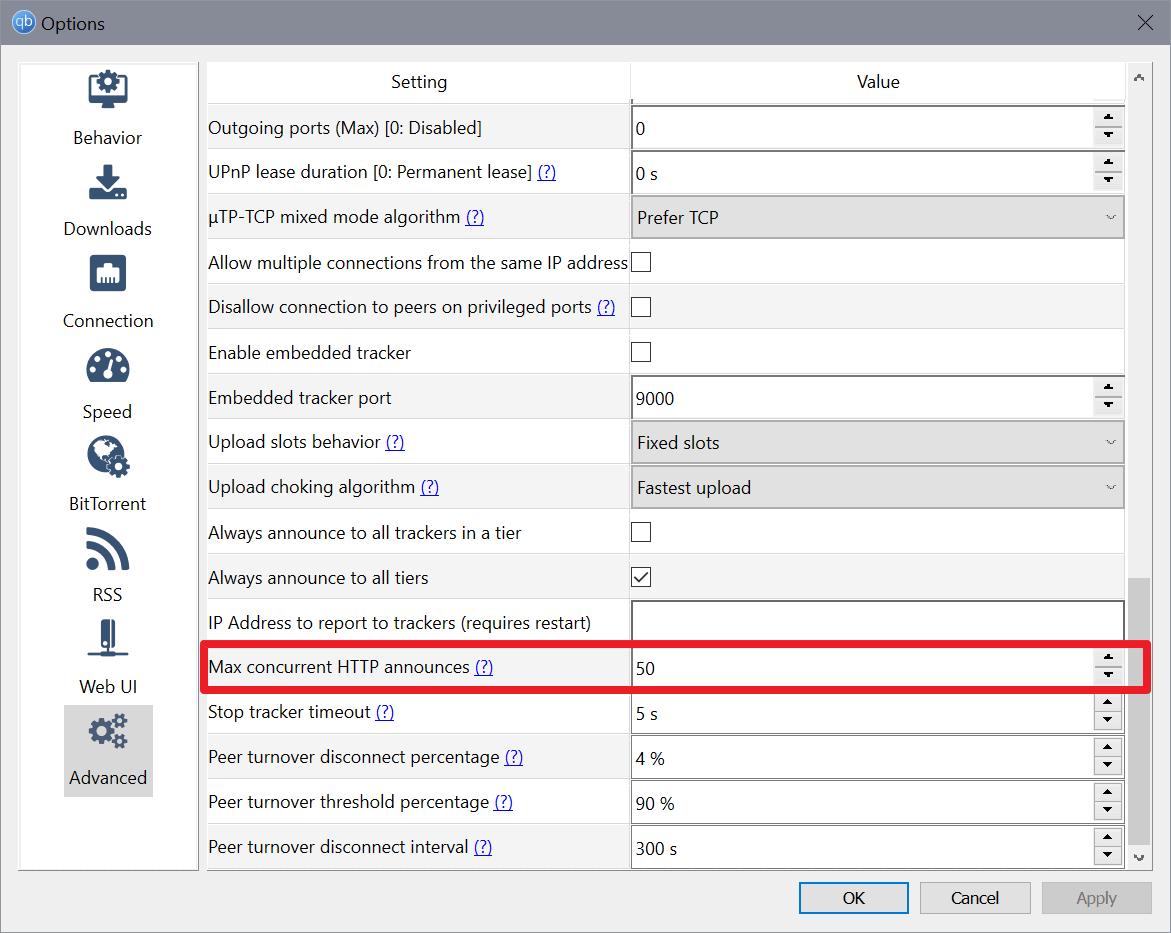 qbittorrent-max concurrent http announces