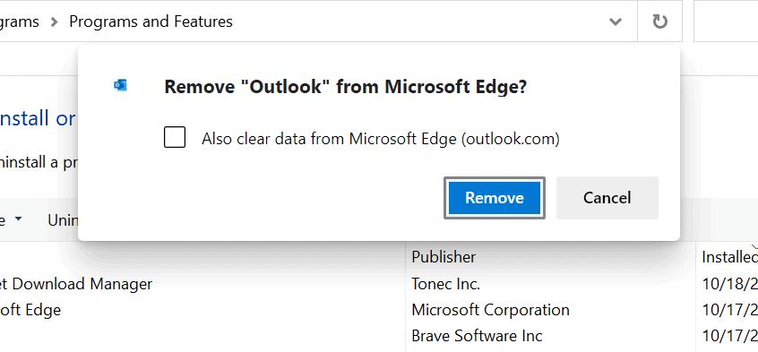 remove from microsoft edge