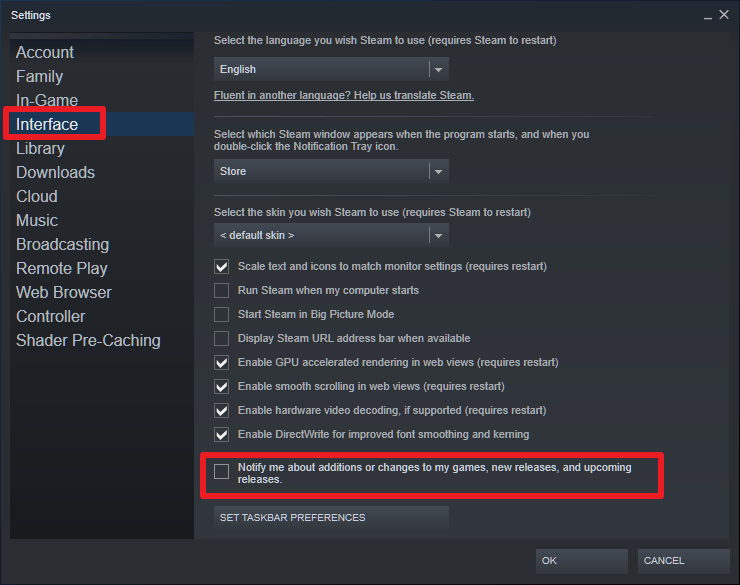 steam disable notifications