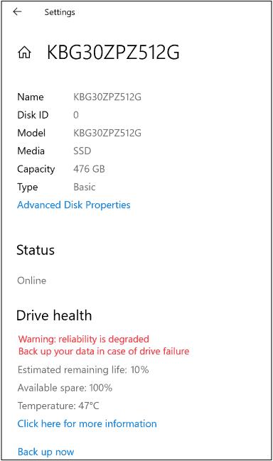 windows 10 drive health