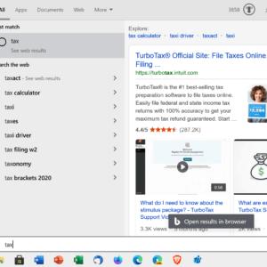 windows-10-web search start