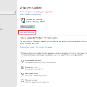 windows update view optional updates