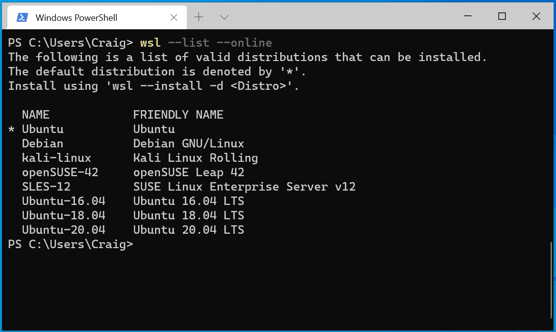 wsl linux distributions
