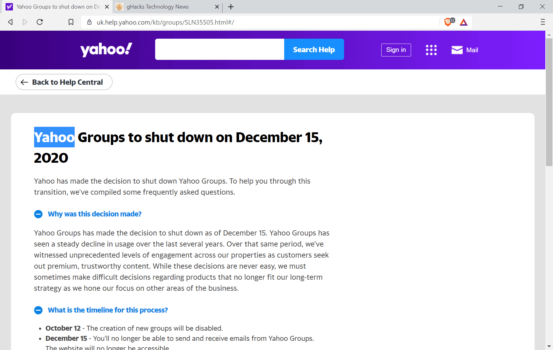 yahoo groups shutdown
