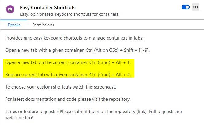 Easy Container shortcuts is an extension that enables additional hotkeys for Firefox containers