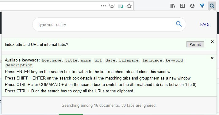 Find the tab you're looking for instantly with the Search All Tabs extension for Firefox and Chrome