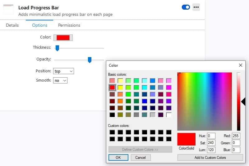 Load progress bar color
