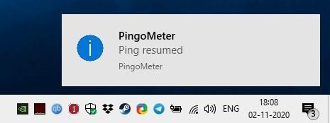 PingoMeter ping resumed