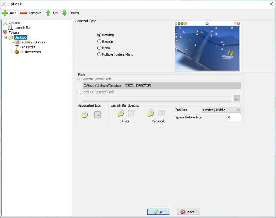QuickWayToFolders settings