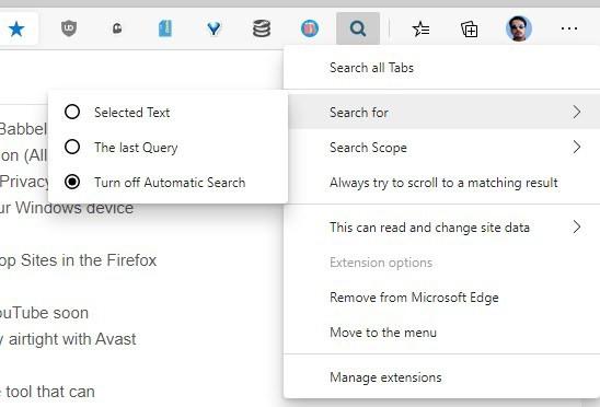 Search All Tabs right-click menu