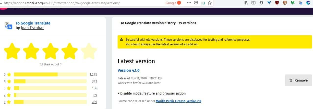 To Google Translate update removes the extension's toolbar button and pop-up panel from Firefox
