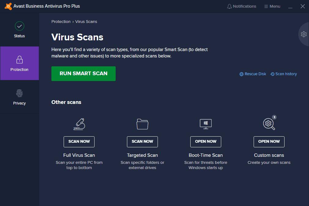 avast virus scan client