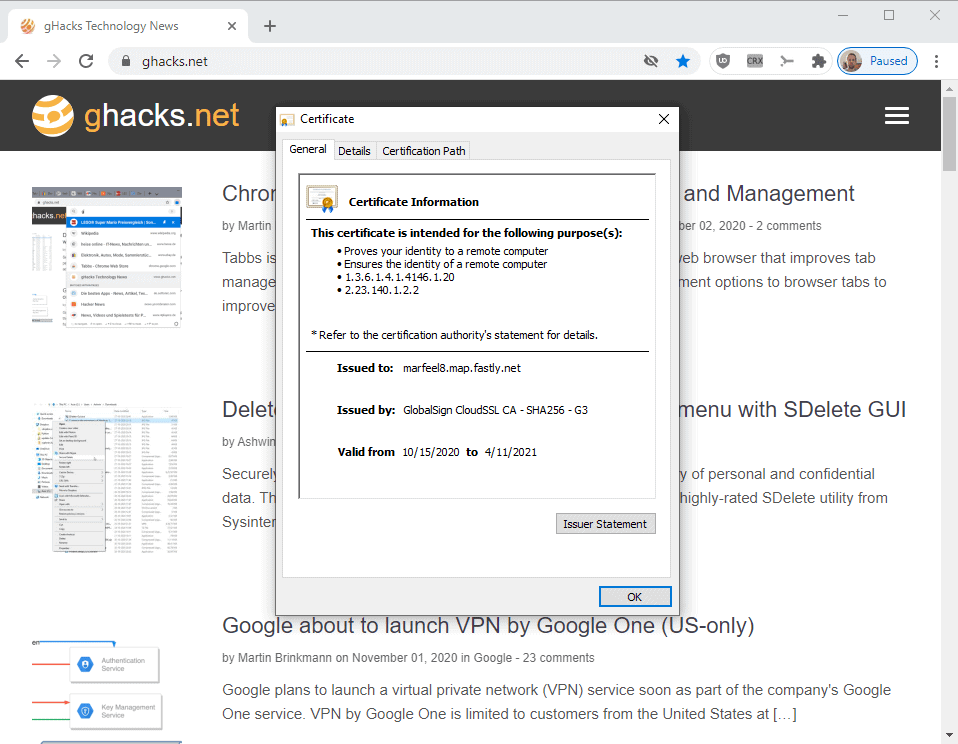 chrome certificate root store