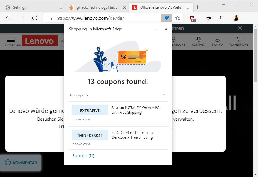 edge coupons shopping