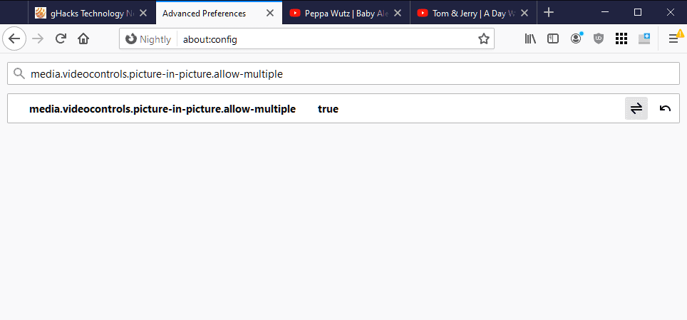 firefox media.videocontrols.picture-in-picture.allow-multiple
