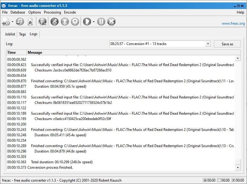 freac audio converter log