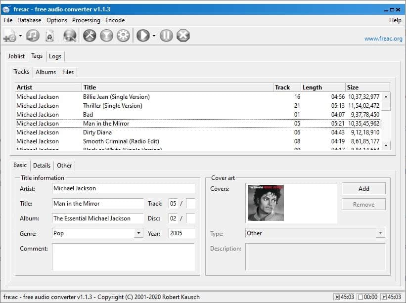 freac audio converter tags
