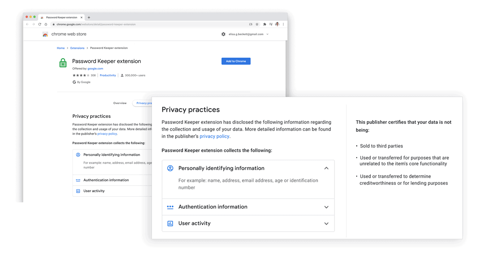 google chrome web store privacy practices