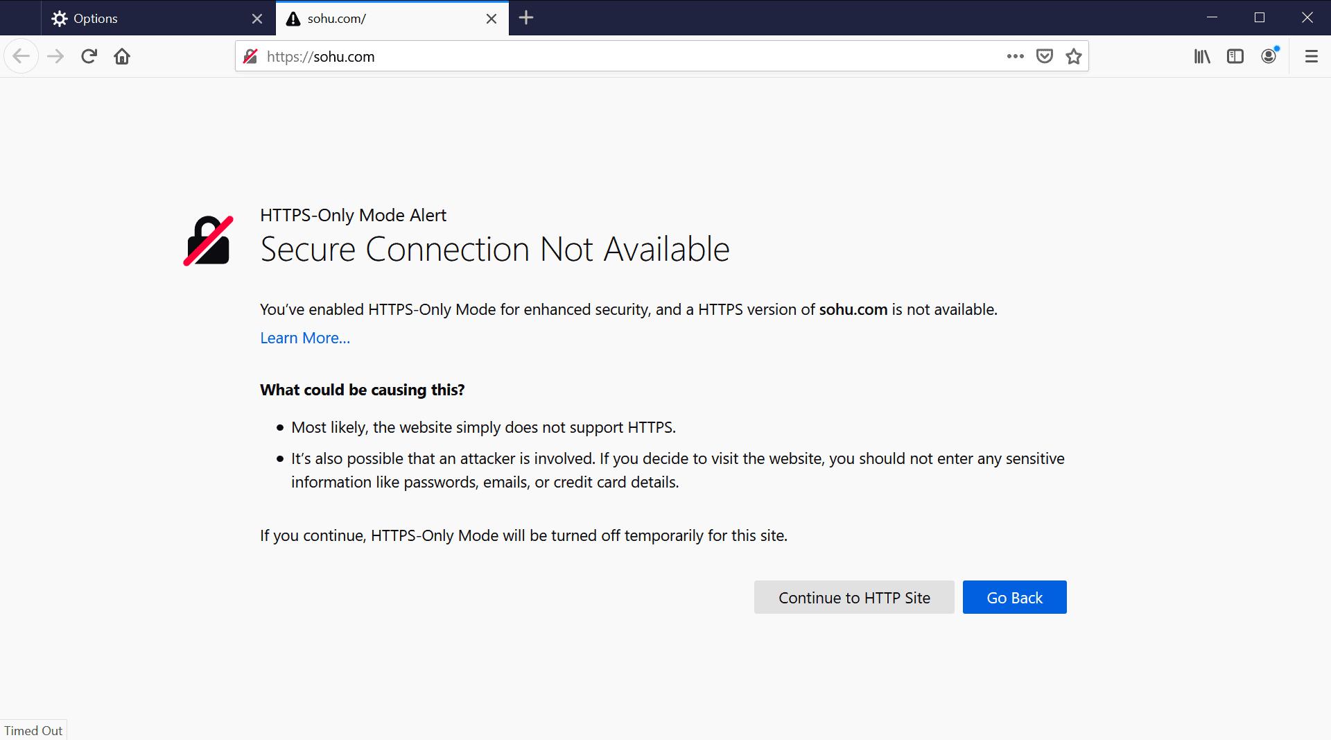 https mode alert firefox