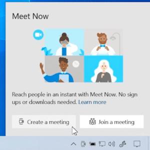 meet now windows 10
