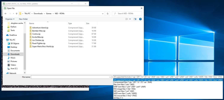 puNES emulator supported formats