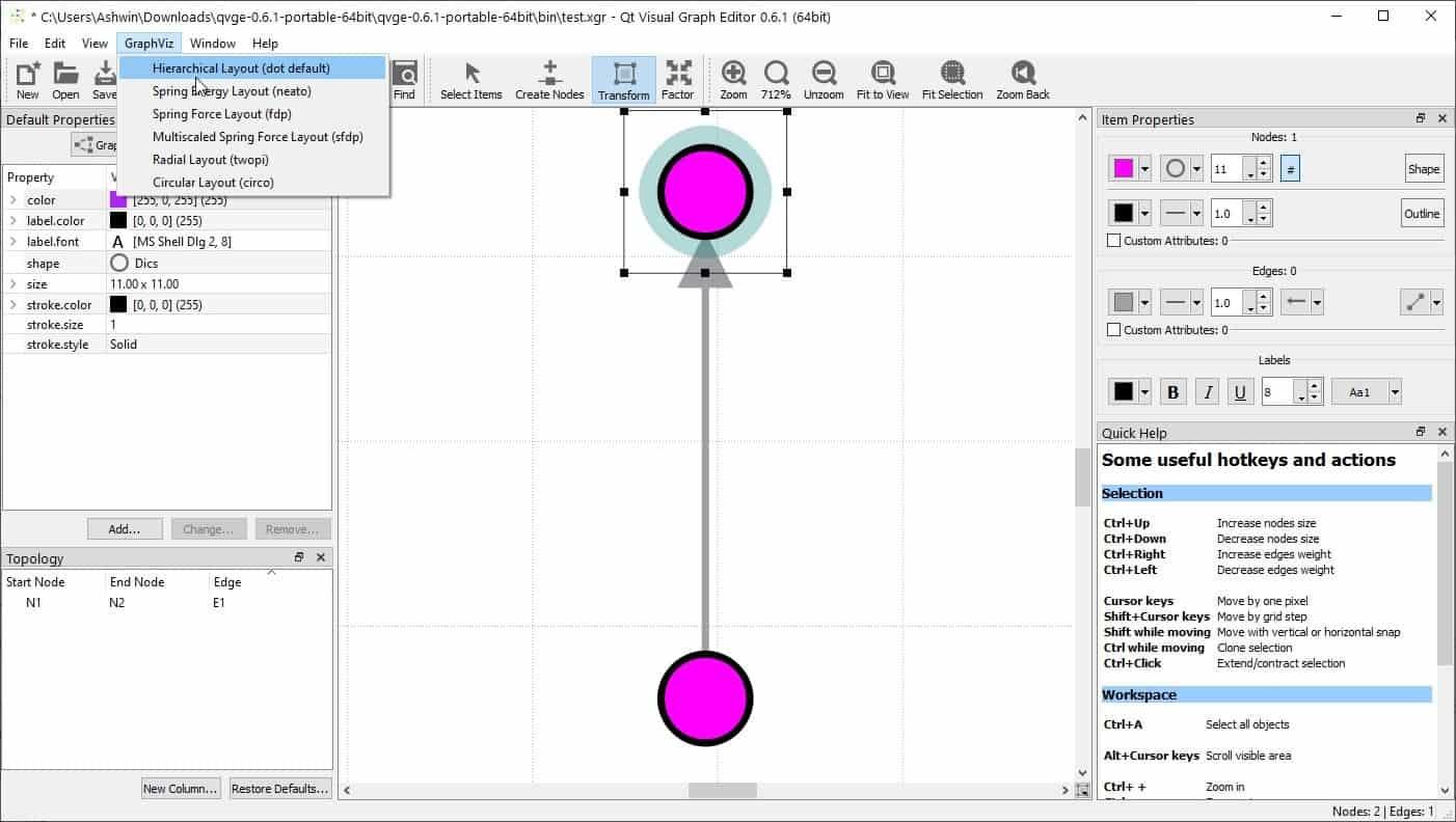 qvge graphviz layouts