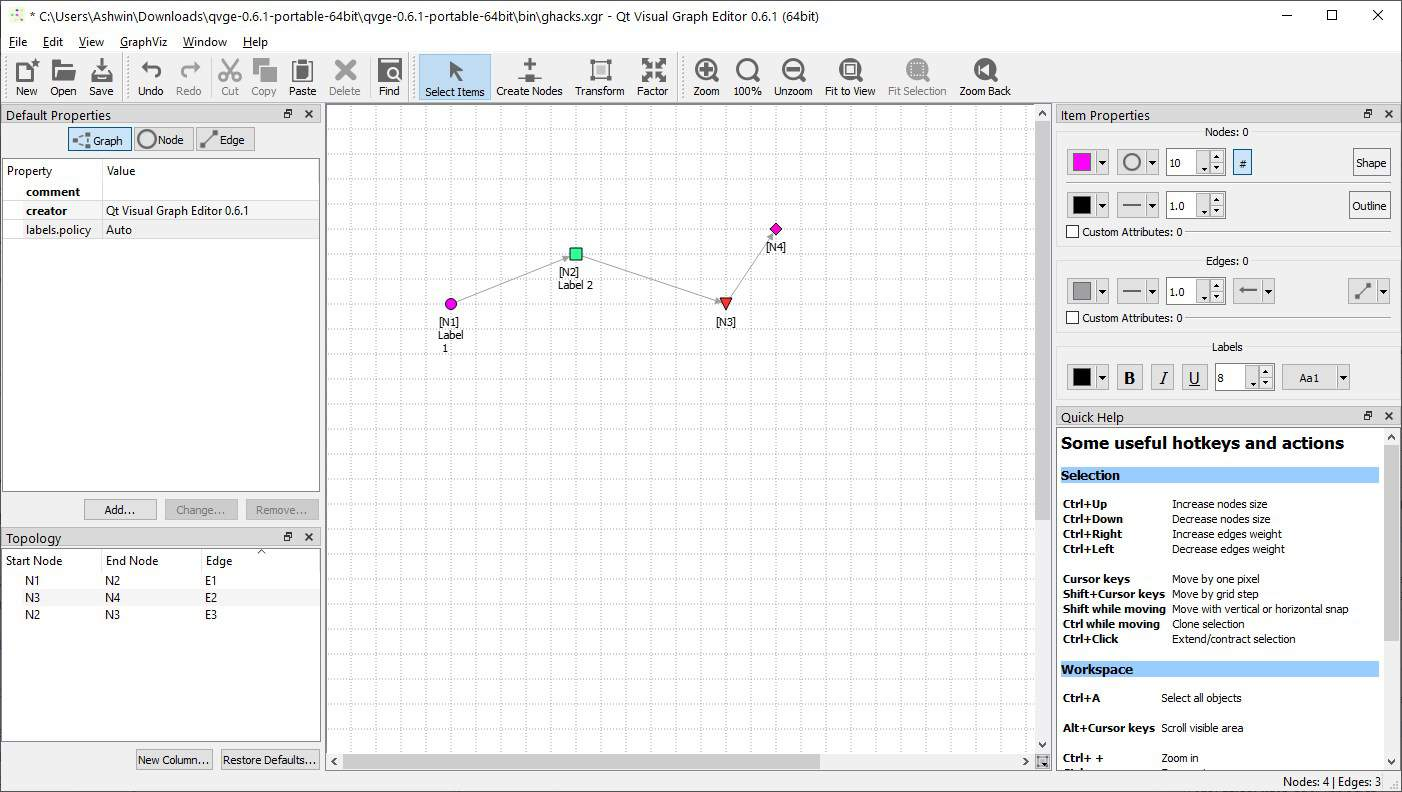 qvge node labels and custom colors
