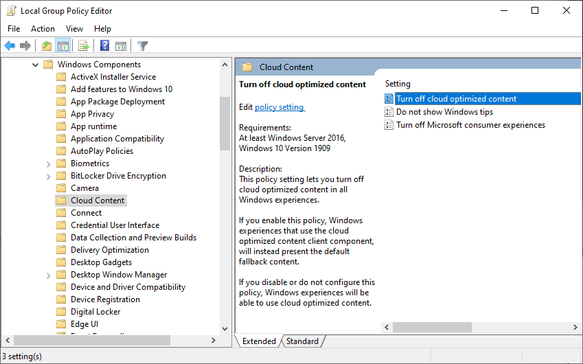turn off cloud optimized content