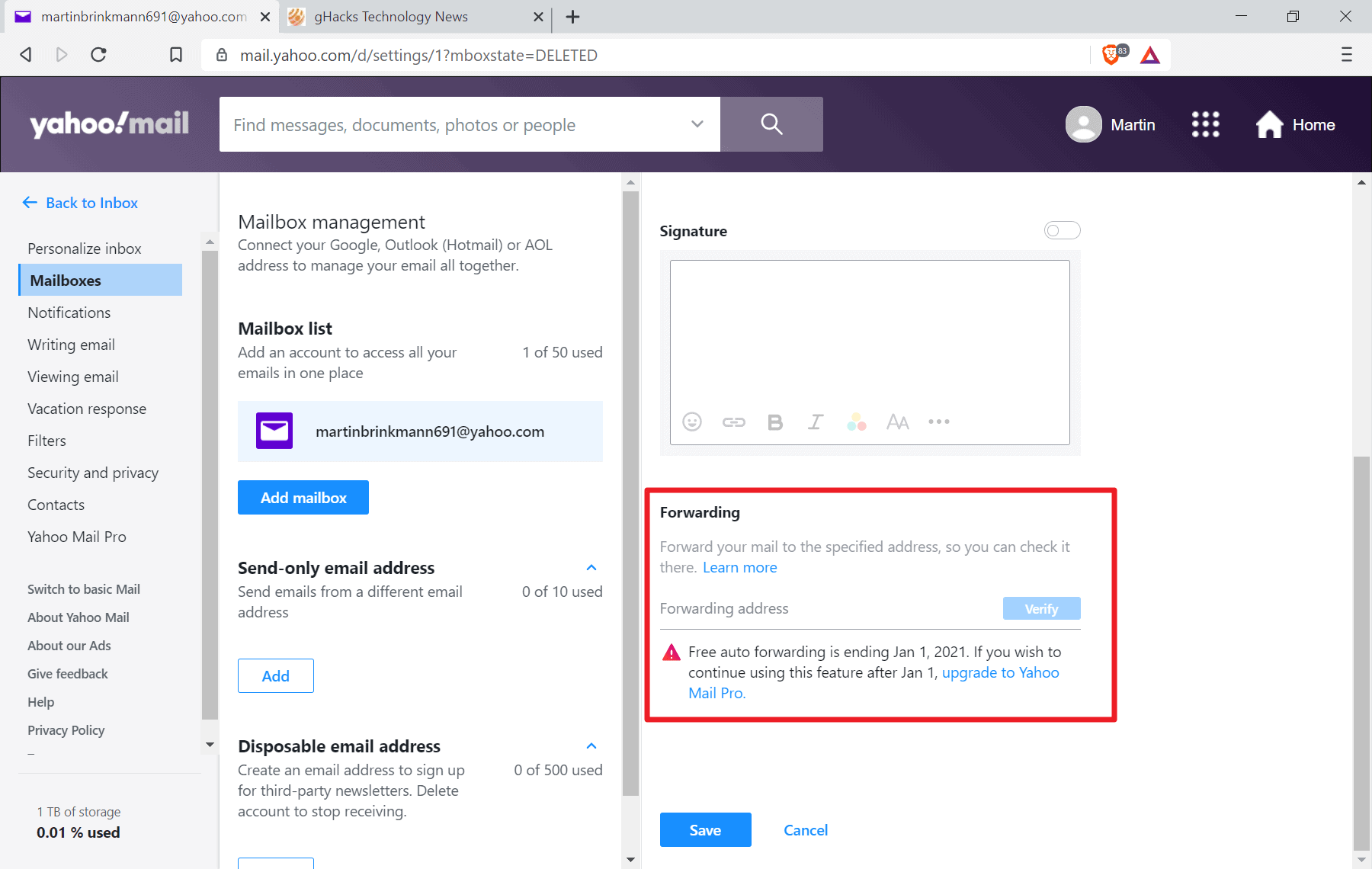 yahoo mail email forwarding dropped