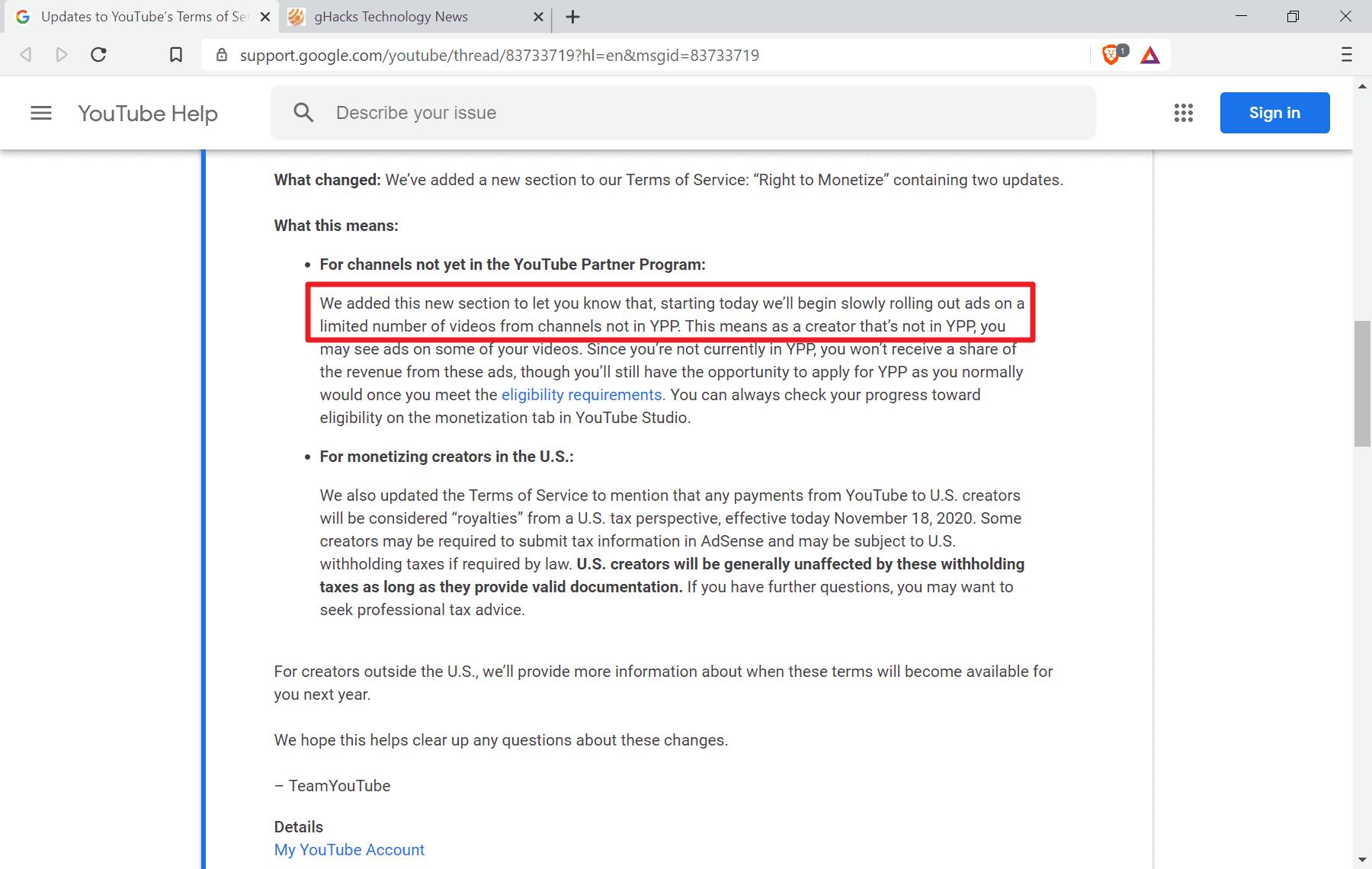 youtube video ads not partner program