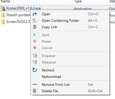 AM Downloader context menu