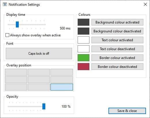 CapsLock Indicator notification settings