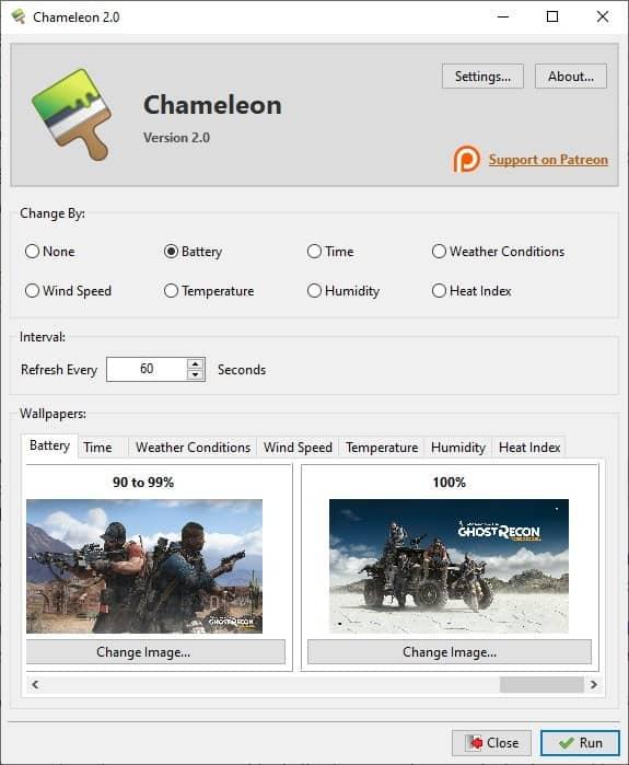 Chameleon set different wallpapers