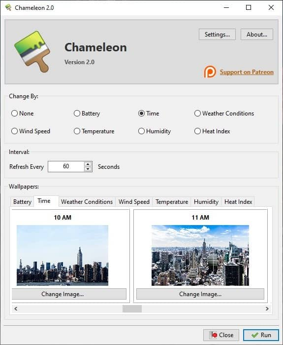Chameleon time settings 2