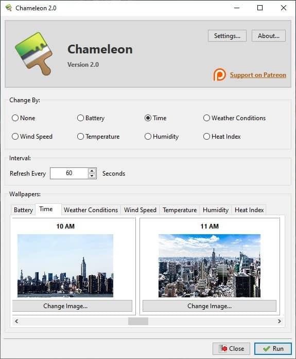 Chameleon time settings 2
